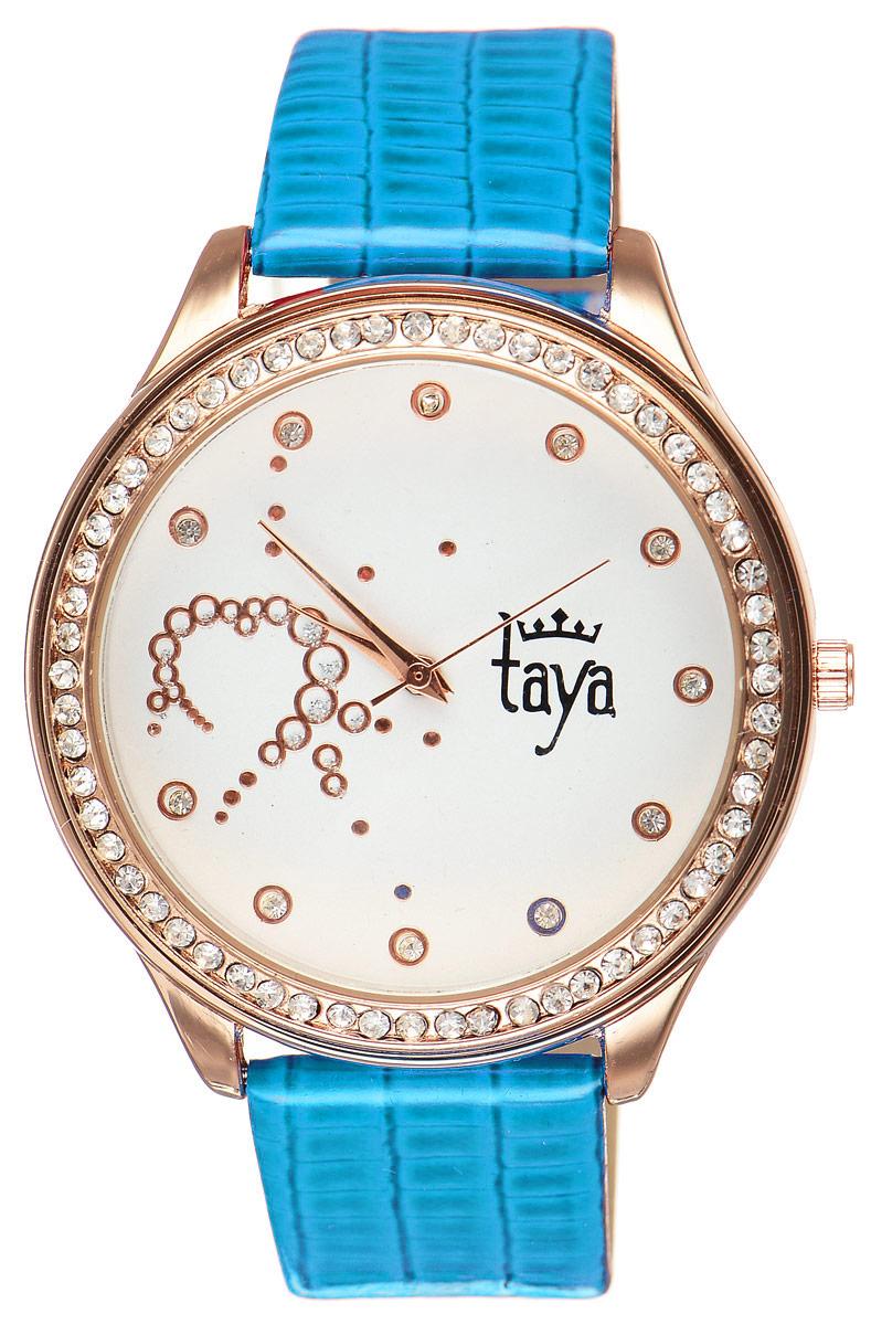 Часы наручные женские Taya, цвет: золотистый, синий. T-W-0032T-W-0032-WATCH-GL.BLUEЭлегантные женские часы Taya выполнены из минерального стекла, искусственной кожи и нержавеющей стали. Циферблат инкрустирован стразами внутри и по внешней стороне окружности. Корпус часов оснащен кварцевым механизмом со сменным элементом питания, а также дополнен ремешком из искусственной кожи, который застегивается на пряжку. Ремешок декорирован тиснением под кожу рептилии. Часы поставляются в фирменной упаковке. Часы Taya подчеркнут изящность женской руки и отменное чувство стиля у их обладательницы.