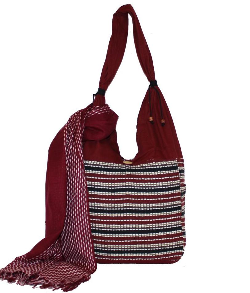Ethnica Хлопковая сумка-торба, цвет: бордовый, в полоску. 122130122130Изготавливается из натурального сырья с использованием натуральных красителей