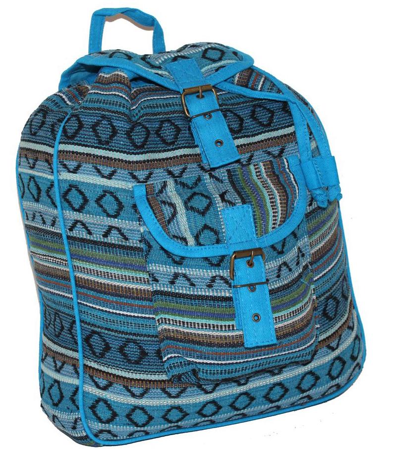 Ethnica Хлопковый рюкзак-торба, цвет: голубой, мультиколор, в полоску. 187250 ( 187250 )