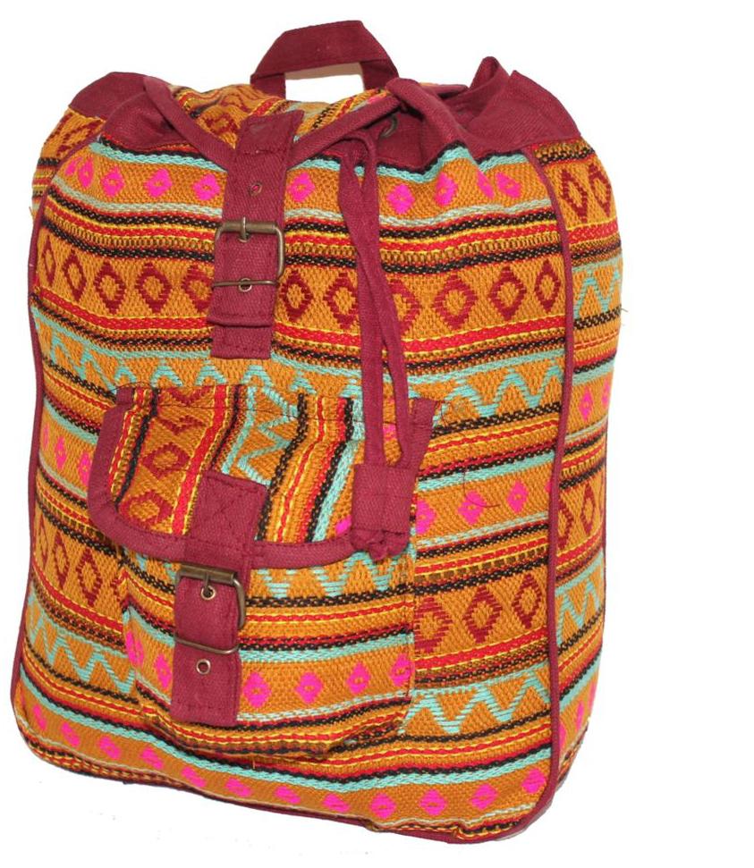 Ethnica Хлопковый рюкзак-торба, цвет: горчичный, бордовый, в полоску. 187250187250Изготавливается из натурального сырья с использованием натуральных красителей