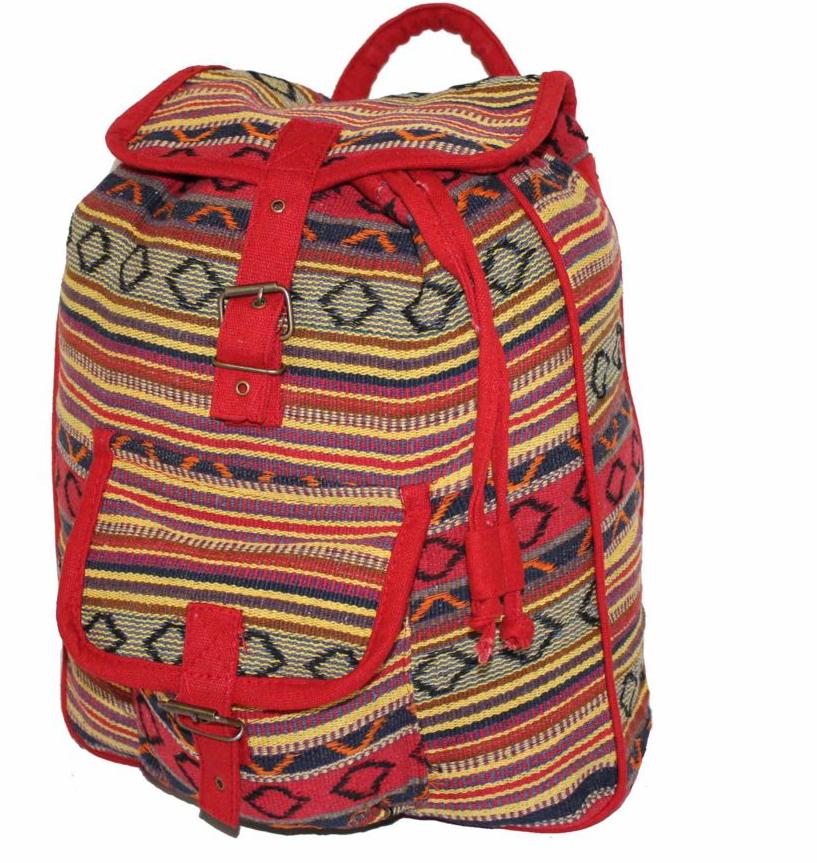Рюкзак женский Ethnica, цвет: красный, желтый. 187250187250Стильный женский рюкзак Ethnica выполнен из натурального хлопка. Закрывается изделие при помощи затягивающего шнурка с клапаном на металлической пряжке. Спереди рюкзак дополнен объемным карманом. Оформлена модель ярким принтом в полоску.