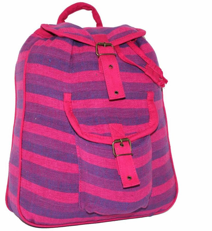 Рюкзак женский Ethnica, цвет: розовый. 187250187250Стильный женский рюкзак Ethnica выполнен из натурального хлопка. Закрывается изделие при помощи затягивающего шнурка с клапаном на металлической пряжке. Спереди рюкзак дополнен объемным карманом. Оформлена модель ярким принтом в полоску.