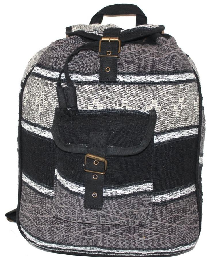 Ethnica Хлопковый рюкзак-торба, цвет: черный, серый, в полоску. 187250187250Изготавливается из натурального сырья с использованием натуральных красителей