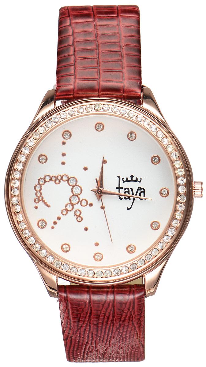 Часы наручные женские Taya, цвет: золотистый, бордовый. T-W-0030T-W-0030-WATCH-GL.BURGUNDYЭлегантные женские часы Taya выполнены из минерального стекла, искусственной кожи и нержавеющей стали. Циферблат инкрустирован стразами внутри и по внешней стороне окружности. Корпус часов оснащен кварцевым механизмом со сменным элементом питания, а также дополнен ремешком из искусственной кожи, который застегивается на пряжку. Ремешок декорирован тиснением под кожу рептилии. Часы поставляются в фирменной упаковке. Часы Taya подчеркнут изящность женской руки и отменное чувство стиля у их обладательницы.