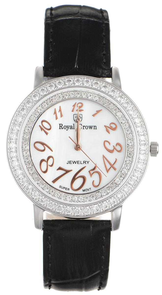 Часы наручные женские Royal Crown, цвет: черный, серебряный. 3632-RDM-13632-RDM-1Стильные женские часы круглой формы Royal Crown изготовлены из высокотехнологичной гипоаллергенной нержавеющей стали и латуни. Покрытие корпуса - палладий и родий, что придает часам благородный блеск драгоценных металлов. Кварцевый механизм имеет степень влагозащиты равную 3 Bar, дополнен часовой, минутной и секундной стрелками. Корпус часов украшен двумя ободками из цирконов, один из которых расположен под стеклом. Для того чтобы защитить циферблат от повреждений в часах используется высокопрочное минеральное стекло. На циферблате арабские цифры разного размера органично сочетаются с фигурными стрелками. Браслет комплектуется надежной и удобной в использовании застежкой-пряжкой, которая позволит с легкостью снимать и надевать часы, а также регулировать длину браслета. Часы упакованы в фирменную коробку и дополнительно в подарочную сумку с названием бренда. Часы Royal Crown подчеркнут изящность женской руки и отменное чувство стиля у их обладательницы.