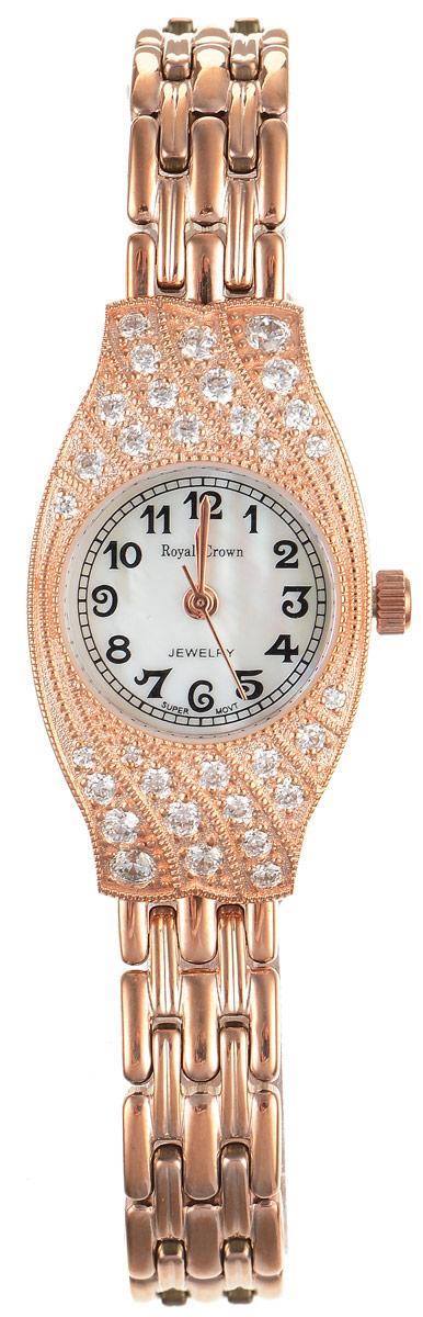 Часы наручные женские Royal Crown, цвет: золотой. 2502S-RSG-62502S-RSG-6Стильные женские часы оригинальной формы Royal Crown изготовлены из высокотехнологичной гипоаллергенной нержавеющей стали и латуни. Покрытие корпуса и браслета - палладий с розовым золотом и родием, что придает часам благородный блеск драгоценных металлов. Кварцевый механизм имеет степень влагозащиты равную 3 Bar и дополнен часовой, минутной и секундной стрелками. Корпус часов украшен цирконами. Для того чтобы защитить циферблат от повреждений в часах используется высокопрочное минеральное стекло. На перламутровом циферблате арабские цифры органично сочетаются с изящными стрелками. Браслет комплектуется надежным и удобным в использовании складным замком, который позволит с легкостью снимать и надевать часы. Часы упакованы в фирменную коробку и дополнительно в подарочную сумку с названием бренда. Часы Royal Crown подчеркнут изящность женской руки и отменное чувство стиля у их обладательницы.