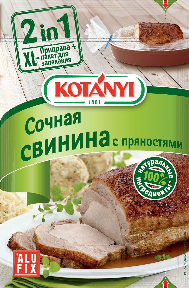 Kotanyi Приправа для сочной свинины с пряностями, 25 г141411Приправа для сочной свинины со специями Kotanyi - 100% натуральные ингредиенты. Без усилителей вкуса, без консервантов, без красителей. Kotanyi 2 in 1 - это идеальное сочетание изысканной смеси трав и специй и удобного пакета для запекания. Тщательно отобранные специи Kotanyi гарантируют совершенный вкус, а пакет для запекания - необыкновенно сочное блюдо! Пакет для запекания находится внутри упаковки. Материал - ПЭТФ, размер: 24,4 см х 37,7 см.