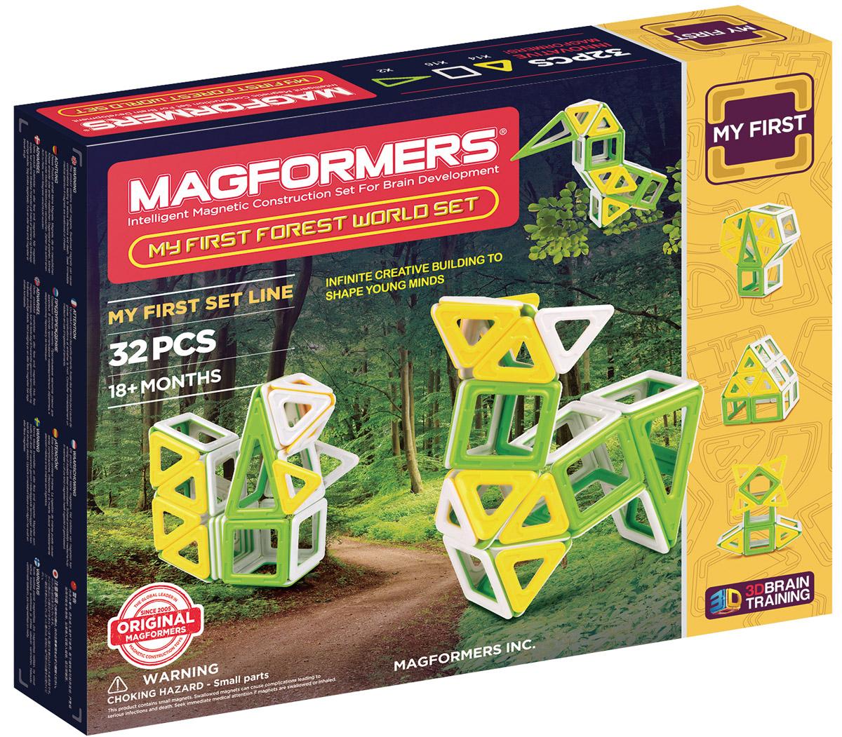 Magformers Магнитный конструктор My First Forest702009My First Forest World Set — пополнение в семейству конструкторов Magformers, посвященных природной тематике, таких как My First Ice World Set и My First Sand World Set. Новый набор посвящен лесу. Детали окрашены в мягкие, напоминающие солнечную лесную опушку цвета: травянисто-зеленый, желтый и белый. В состав набора входят квадраты, треугольники и равнобедренные треугольники, из которых можно собрать разнообразных лесных зверьков, деревья и даже лесную хижину. Этот маленький добрый набор подойдет как для первого знакомства с миром Магформерс, так и для тех, кто хочет разнообразить свою коллекцию. В комплект также входит красочно иллюстрированная Книга идей с подробными схемами сборки лесных обитателей. Вы сможете собрать зайчика, олененка, сову, лисичку или включить воображение и придумать собственного зверька. Набор станет отличным подарком для юного натуралиста! Конструкторы Магформерс — это неиссякаемый источник веселья и творчества! Множество различных по форме деталей позволяет...