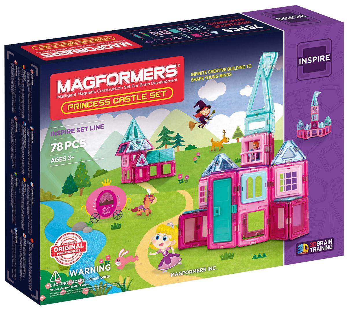Magformers Магнитный конструктор Princess Castle704004Набор Magformers Princess Castle - одна из самых интересных новинок 2016 года. В его состав вошли не встречавшиеся ранее ни в одном другом наборе строительные аксессуары и элементы с прозрачными окошками. Детали конструктора выполнены в нежных розово-голубых пастельных тонах, столь любимых девочками. С этим набором вы сможете построить невероятно красивый сказочный замок для принцессы. Помимо базовых геометрических фигур в комплект входят разнообразные декоративные аксессуары: черепичная крыша; изящные балкончики; оконные решетки; оконные проемы с арками. Также в наборе появилась фигурка прекрасной принцессы. Книга идей в комплекте поведает про то, как злая колдунья превратила замок принцессы в тень. Благодаря инструкциям по сборке и силуэтам замков вы сможете спасти принцессу и построить ей новый дом. Особенностью набора также стали квадраты и треугольники с прозрачными вставками из появившейся на рынке в 2016 году линейки Magformers Window. Таинственные полупрозрачные окна и купола...