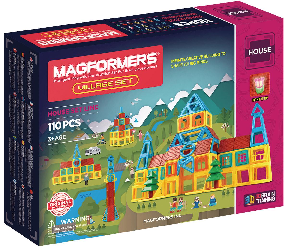 Magformers Магнитный конструктор Village Set705002C новым Magformers Village Set вы сможете построить целую деревню! Этот конструктор принадлежит к серии строительных наборов Магформерс, куда входят также Magformers Sweet House Set и Magformers Build Up Set. Для наборов серии характерны уникальные строительные аксессуары и дизайн элементов из непрозрачного пластика. Детали Magformers Village Set выполнены в теплой желто-голубой цветовой гамме. Помимо базовых геометрических элементов, в набор вошли различные строительные аксессуары: панели крыш и стен; двери; окна нескольких видов; нарядные балконы; две ели. А также уникальные элементы: дымовая труба; большая дверь; светящаяся лампа. Чтобы сделать постройки более сложными и разнообразными, в наборе представлены суперквадраты, разные виды треугольников, полуарки и абсолютно новая деталь — круг, который пригодится при постройке часовой башни или для окна мансарды. Помимо разнообразных строительных аксессуаров, в набор Magformers Village Set включены базовые элементы Магформерс,...