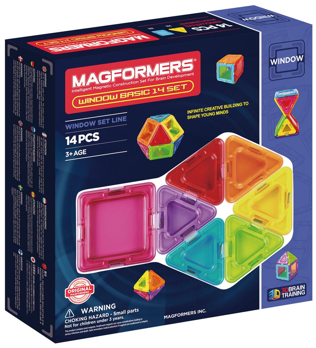 Magformers Магнитный конструктор Window Basic 714001714001Magformers Window Basic 14 – представитель новой серии Window, в которую также входят Window Basic 30 Set и Window Inspire 14 Set. Особенностью этой серии являются магнитные детали со сплошным центром, из которых можно собрать непрозрачные модели. Набор Window Basic 14 — идеально подойдет для начинающего строителя. В его состав входят квадраты и треугольники - самые базовые и легкие в применении фигуры. С их помощью малыш сможет постепенно перейти от аппликаций на плоскости к построению объемных моделей. Детали выполнены в ярких радужных цветах, что непременно порадует маленького архитектора. Все элементы набора совместимы с любыми другими конструкторами Магформерс. Те, кто уже имеет коллекцию магнитных конструкторов, сможет дополнить ее уникальными непрозрачными элементами и создавать еще более разнообразные и прочные постройки. Наборы Магформерс выгодно отличаются от других конструкторов тем, что внутри каждого элемента находятся магниты. В процессе соединения деталей магниты сами...