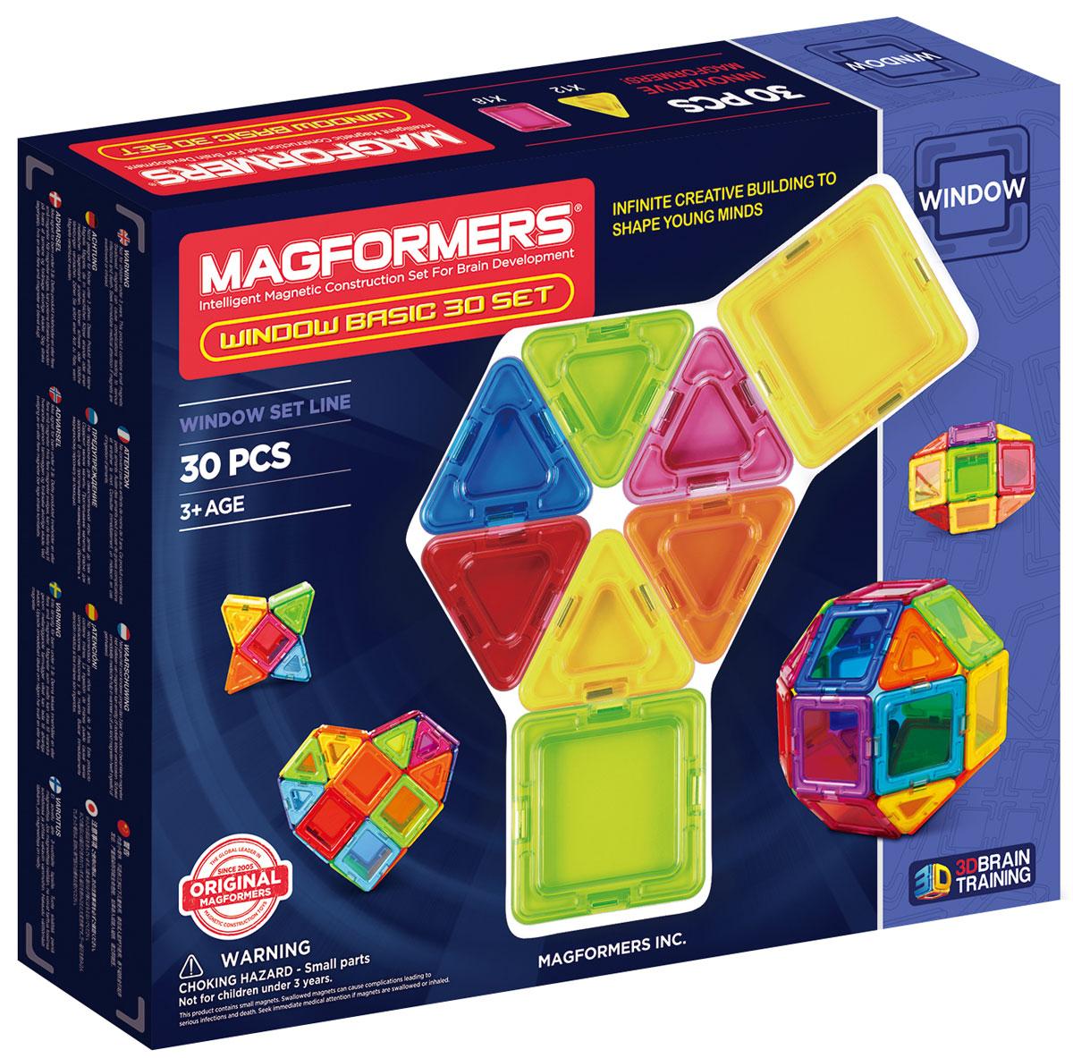 Magformers Магнитный конструктор Window Basic 714002714002Window Basic 30 Set — представитель новой серии Window, в которую также входят Window Basic 14 Set и Window Inspire 14 Set. Особенностью этой серии являются магнитные детали со сплошным центром, из которых можно собрать непрозрачные модели. В набор входит 30 элементов в форме квадратов и треугольников, с помощью которых можно легко создавать разнообразные объемные предметы. В комплекте представлена иллюстрированная книжка-инструкция, которая наглядно демонстрирует принципы построения моделей из магнитного конструктора Магформерс. Каждая деталь содержит окошко из цветного прозрачного пластика, что открывает новые возможности для творчества. Теперь у сконструированных машин появятся лобовые стекла, а окна небоскребов будут выглядеть как настоящие! Все элементы конструктора Magformers Window Basic 30 Set совместимы с другими наборами Магформерс, что делает его необычным дополнением к уже имеющейся коллекции и позволяет расширить варианты возможных построек. Конструкторы Магформерс — это...