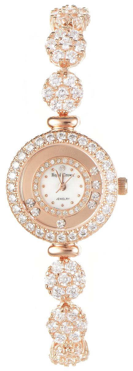 Часы наручные женские Royal Crown, цвет: золотой. 5308-B21-RSG-55308-B21-RSG-5Изысканные женские часы Royal Crown изготовлены из высокотехнологичной гипоаллергенной нержавеющей стали и латуни. Покрытие корпуса и браслета - палладий с розовым золотом и родием, что придает часам благородный блеск драгоценных металлов. Кварцевый механизм имеет степень влагозащиты равную 3 Bar и дополнен часовой, минутной и секундной стрелками. Корпус часов украшен двумя ободками из цирконов и декорирован россыпью камней, перемещающихся при движении руки. Браслет выполнен из соединяющихся между собой элементов, инкрустированных цирконами. Для того чтобы защитить циферблат от повреждений в часах используется высокопрочное минеральное стекло. На белом циферблате отметки в виде точек органично сочетаются с маленькими стрелками. Браслет комплектуется надежным и удобным в использовании складным замком, который позволит с легкостью снимать и надевать часы. Часы упакованы в фирменную коробку и дополнительно в подарочную сумку с названием бренда. Часы Royal Crown...