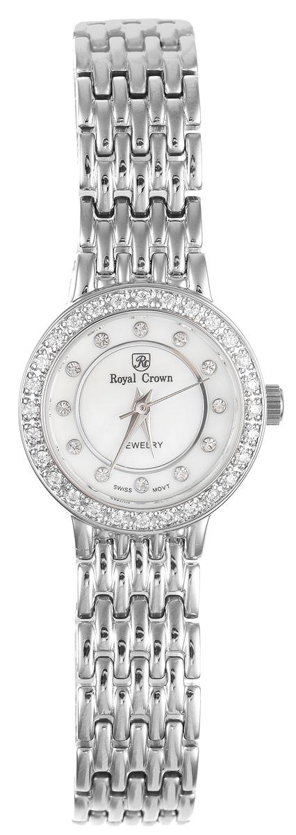Часы наручные женские Royal Crown, цвет: серебристый. 3650-RDM-63650-RDM-6Стильные женские наручные часы Royal Crown изготовлены из высокотехнологичной гипоаллергенной нержавеющей стали и латуни. Для того чтобы защитить циферблат от повреждений в часах используется высокопрочное минеральное стекло. Циферблат изделия оснащен часовой, минутной и секундной стрелками и оформлен символикой бренда и стразами, заменяющими цифры. Циферблат инкрустирован по кругу сверкающими стразами. Корпус часов оснащен кварцевым механизмом, степенью влагозащиты равной 3 Bar. Браслет часов выполнен оригинальным плетением и застегивается на складной замок, который позволит с легкостью снимать и надевать часы. Часы упакованы в фирменную коробку и дополнительно в подарочный пакет с названием бренда. Часы Royal Crown подчеркнут характер и отменное чувство стиля их обладательницы.