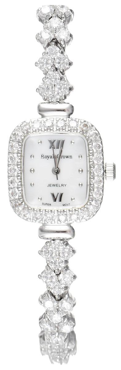 Часы наручные женские Royal Crown, цвет: серебряный, белый. 1514-B12-RDM-51514-B12-RDM-5Элегантные женские часы геометрической формы Royal Crown изготовлены из высокотехнологичной гипоаллергенной нержавеющей стали. Корпус и браслет изделия инкрустированы стразами. Браслет выполнен оригинальным плетением. На перламутровом циферблате римские цифры органично сочетаются с точками и маленькими стрелками. Корпус часов оснащен кварцевым механизмом, который имеет степень влагозащиты равную 3 Bar, а также устойчивым к царапинам минеральным стеклом. Практичный складной замок, предусмотренный в конструкции браслета, позволит без затруднения снимать и надевать часы. Часы упакованы в фирменную коробку и дополнительно в подарочную сумку с названием бренда. Часы Royal Crown подчеркнут изящность женской руки и отменное чувство стиля у их обладательницы.