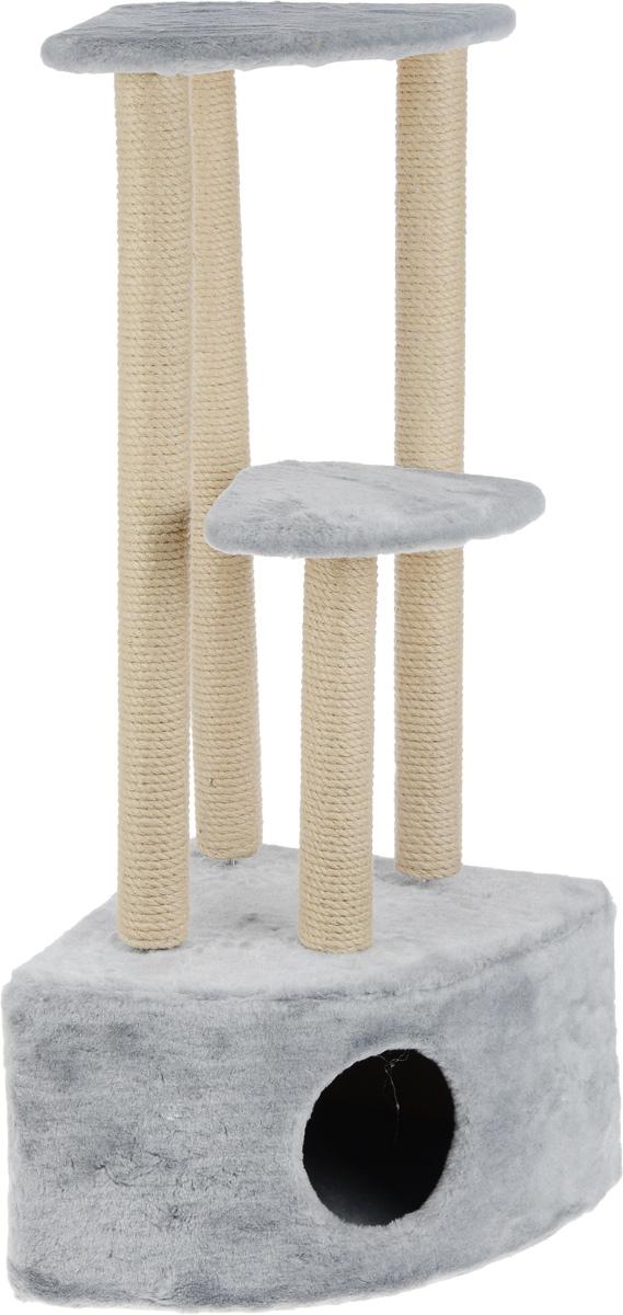 Игровой комплекс для кошек Меридиан, 3-ярусный, угловой, с домиком и когтеточкой, цвет: светло-серый, бежевый, 42 х 42 х 110 смД436 ССИгровой комплекс для кошек Меридиан выполнен из высококачественного ДВП и ДСП и обтянут искусственным мехом. Изделие предназначено для кошек. Комплекс имеет 3 яруса. Ваш домашний питомец будет с удовольствием точить когти о специальные столбики, изготовленные из джута. А отдохнуть он сможет либо на полках, либо в расположенном внизу домике. Общий размер: 42 х 42 х 110 см. Размер домика: 42 х 42 х 28 см. Размер большой полки: 35 х 35 см. Размер малой полки: 26 х 26 см.