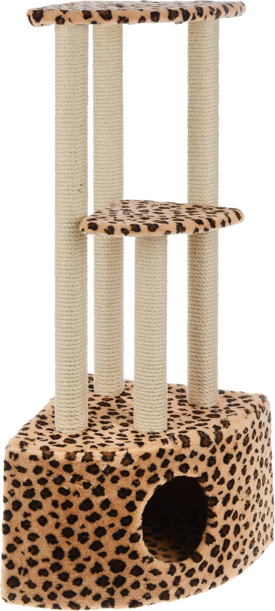 Игровой комплекс для кошек Меридиан, 3-ярусный, угловой, с домиком и когтеточкой, цвет: коричневый, черный, бежевый, 42 х 42 х 110 смД436 ЛеИгровой комплекс для кошек Меридиан выполнен из высококачественного ДВП и ДСП и обтянут искусственным мехом. Изделие предназначено для кошек. Комплекс имеет 3 яруса. Ваш домашний питомец будет с удовольствием точить когти о специальные столбики, изготовленные из джута. А отдохнуть он сможет либо на полках, либо в расположенном внизу домике. Общий размер: 42 х 42 х 110 см. Размер домика: 42 х 42 х 28 см. Размер большой полки: 35 х 35 см. Размер малой полки: 26 х 26 см.