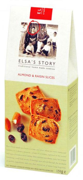 Elsas Story миндальные пластинки с изюмом, 150 гК22200Традиционной для Эльза Стори является серия сладкого печенья в упаковке Tall Carton Box