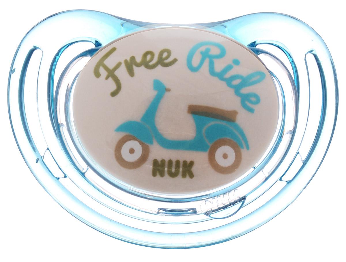 NUK Пустышка силиконовая для сна Freestyle Мотороллер ортодонтическая от 6 до 18 месяцев