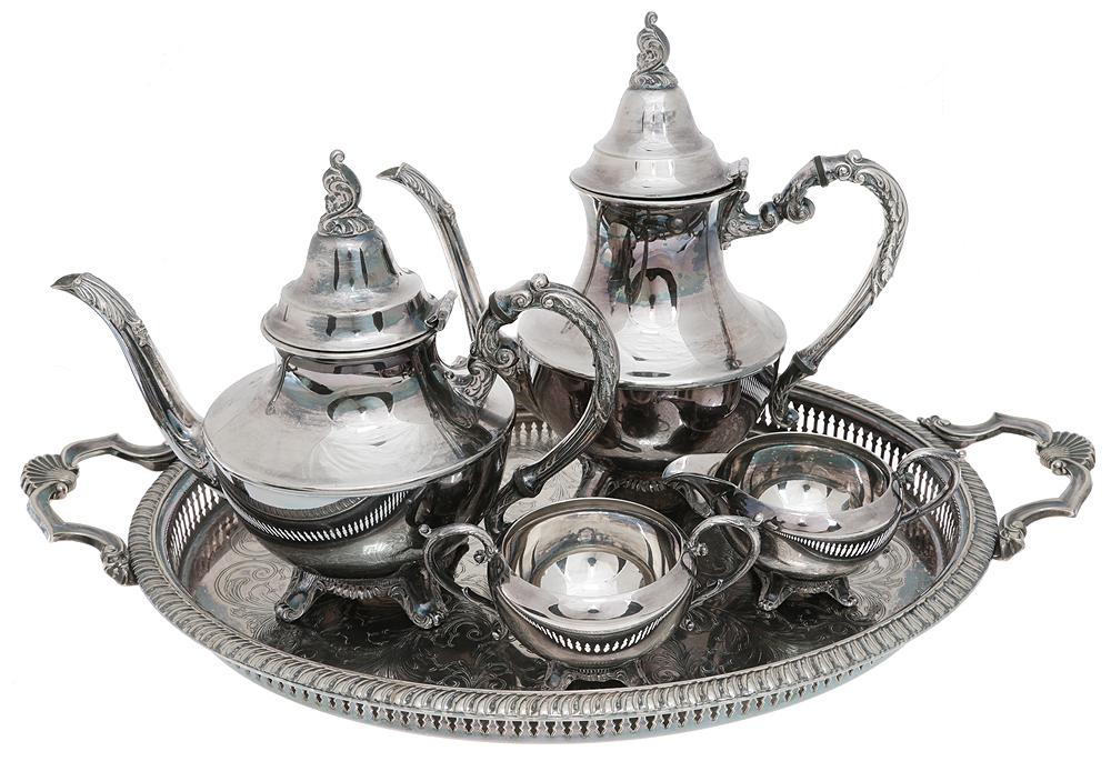 Чайно-кофейный набор из 5 предметов: чайник, сахарница, молочник, кофейник, поднос. Металл, серебрение, гравировка. Oneida, Канада, 1930-е гг.