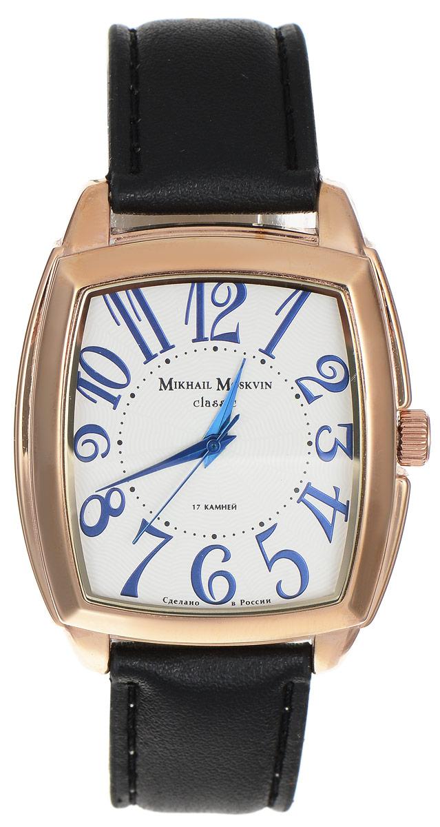Часы наручные мужские Mikhail Moskvin, цвет: черный, золотой. 095-3-2р095-3-2рСтильные мужские часы Mikhail Moskvin выполнены из металлического сплава и минерального стекла. Циферблат оформлен символикой бренда. Механические часы с 17 рубиновыми камнями и противоударным устройством оси баланса дополнены ремешком из натуральной кожи, который застегивается на практичную пряжку. Часы Mikhail Moskvin подчеркнут отменное чувство стиля у их обладателя.