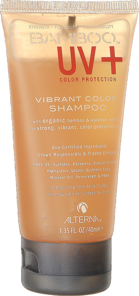Alterna Шампунь для ухода за цветом Bamboo Color Care UV+ Vibrant Color Shampoo - 40 мл56009-1.IНежно очищает, питает и увлажняет волосы, закладывая основной фундамент для сильных и здоровых волос. Обеспечивает волосам защиту от ультрафиолетовых лучей спектра UVA/UVB. Предотвращает вымывание цвета в процессе ухода за волосами и сохраняет насыщенность оттенка. Обладает наивысшей степенью по защите окрашенных волос. Повышает эластичность волос и придает оттенку окрашенных волос яркость и многомерное сияние. Содержит устойчивые фильтры, которые защищают волосы от окислительного повреждения. Масло семян дыни Калахари обеспечивает наивысшую защиту цвета волос, не утяжеляя волосы. Color care UV Vibrant Color Shampoo бережно ухаживает за окрашенными волосами, уберегает их от вредного воздействия ультрафиолетовых лучей, повышает эластичность волос и придает им ослепительный блеск. Результат: Шампунь глубоко питает окрашенные волосы и придает оттенку многомерный блеск и очаровательное сияние.
