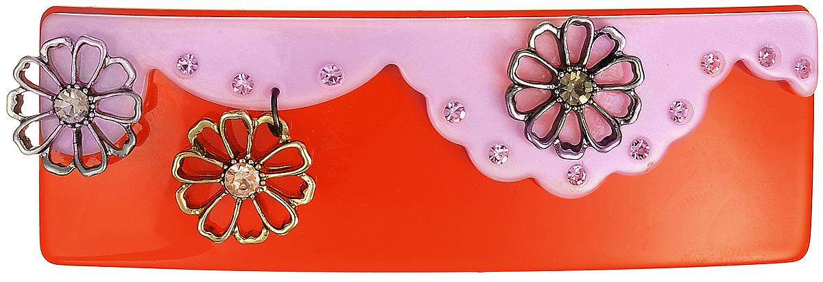 Заколка для волос Selena, цвет: красный, розовый. 7005727170057271Стильная заколка для волос с автоматическим зажимом Selena изготовлена из пластика и металлического сплава с гальваническим покрытием из золота и родия, декорирована сверкающими стразами Swarovski. Оригинальное украшение блестяще подчеркнет красоту вашей прически, а также поможет внести разнообразие в привычный образ.