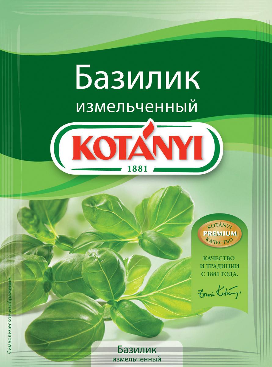 Kotanyi Базилик измельченный, 9 г180011Базилик - это неотъемлемый ингредиент средиземноморской кухни. Благодаря особому бережному способу сушки, базилик Kotanyi сохраняет эфирные масла, аромат которых заново раскрывается в процессе приготовления блюд. Применение: базилик - прекрасная приправа к супам, салатам, овощным, мясным и творожным блюдам, уксусам и соленьям.