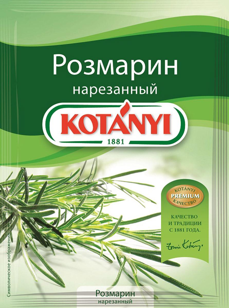 Kotanyi Розмарин нарезанный, 15 г180811Розмарин обладает сильным ароматом и пряным, слегка горьковатым вкусом. Эфирные масла, содержащиеся в розмарине, придают блюдам неповторимый средиземноморский вкус. Розмарин идеально подходит для жарки и запекания. Применение: супы, блюда из овощей, рыбные и мясные блюда.