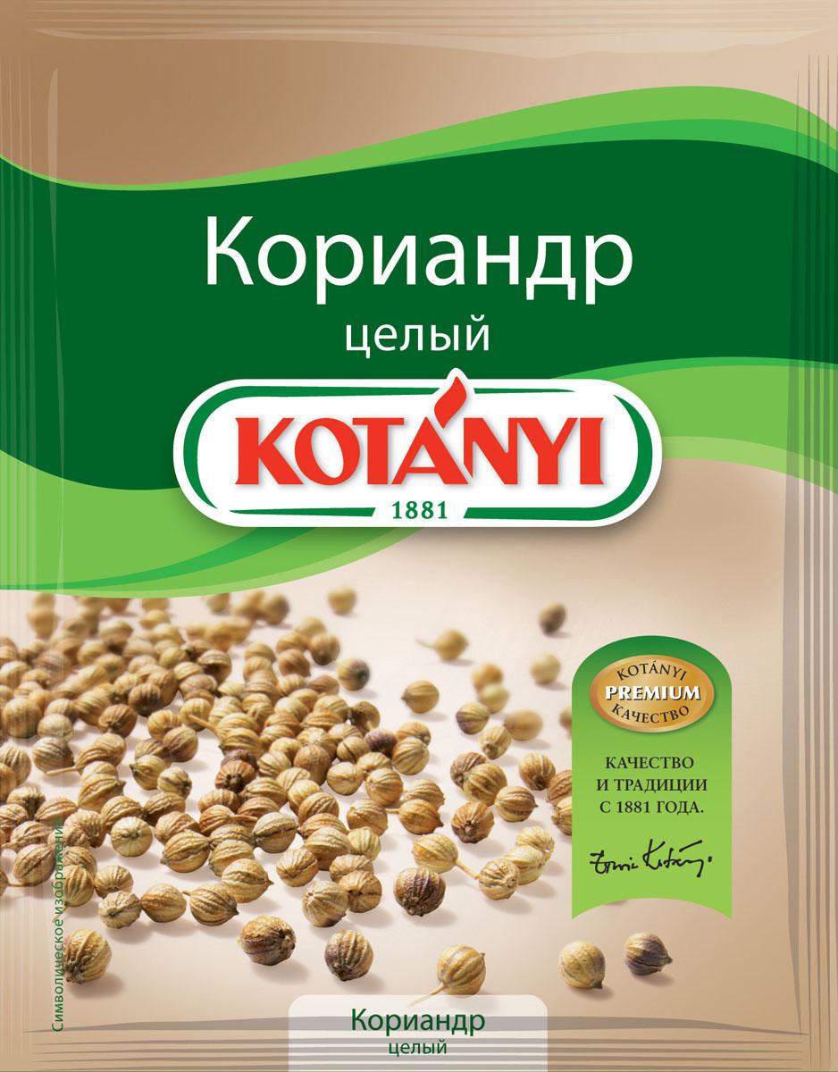 Kotanyi Кориандр целый, 20 г152811Кориандр обладает мягким пряным ароматом и острым сладким вкусом, напоминающим апельсин и корицу. Добавьте толченый в ступке кориандр в любое блюдо, которому вы хотите придать типичную нотку индийской кухни. Применение: мясные и рыбные блюда, блюда из томатов, овощи, супы, имбирные пряники, хлеб.