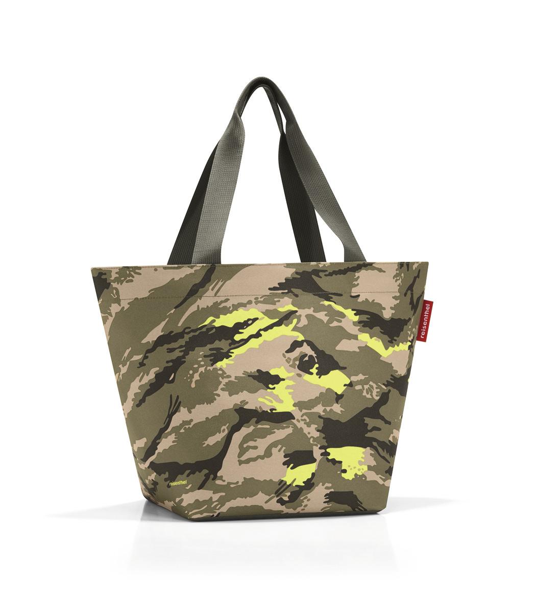 Сумка Reisenthel, цвет: хаки, бежевый, темно-коричневый. ZS5034ZS5034Вместительная сумка Reisenthel изготовлена из текстиля и оформлена оригинальным принтом. Сумка имеет одно отделение, которое закрывается на застежку-молнию. Внутри расположен нашивной карман на застежке-молнии. Сумка оснащена двумя длинными ручками.
