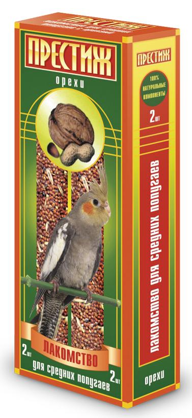 Лакомство для средних попугаев Престиж палочки с орехами, 2 шт4627092860129Лакомство Престиж для Средних попугаев в виде жестких палочек с орехом, является отличным и полезным разнообразием корма для Вашего питомца. Обладает достаточной жесткостью, что способствует обязательному стачиванию и очищению клюва попугая, а так же вызывает особый интерес добывание пищи самостоятельно, отщепляя зерна с палочки. Состав: Просо красное, просо белое, просо желтое, овес, льняное семя, кукуруза, семена подсолнечника, канареечное семя, полосатые семена, орехи, витамины.