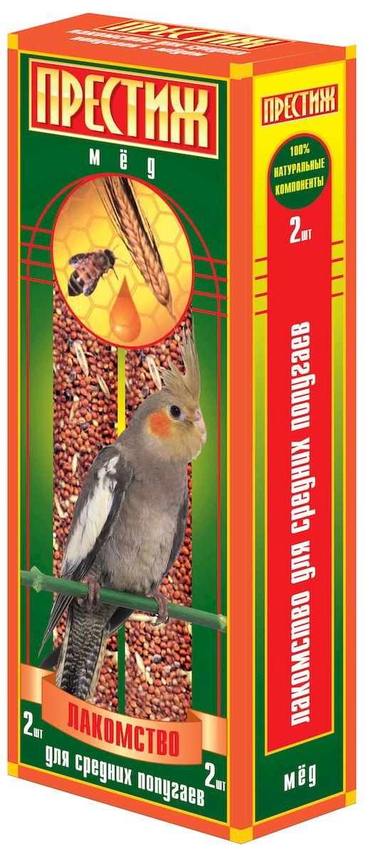Лакомство для средних попугаев Престиж палочки с медом, 2 шт4627092860686Лакомство Престиж для Средних попугаев в виде жестких палочек с медом, является отличным и полезным разнообразием корма для Вашего питомца. Обладает достаточной жесткостью, что способствует обязательному стачиванию и очищению клюва попугая, а так же вызывает особый интерес добывание пищи самостоятельно, отщепляя зерна с палочки. Состав: Просо красное, просо белое, просо желтое, овес, льняное семя, кукуруза, семена подсолнечника, канареечное семя, полосатые(турецкие) семена подсолнечника, мед, витамины.