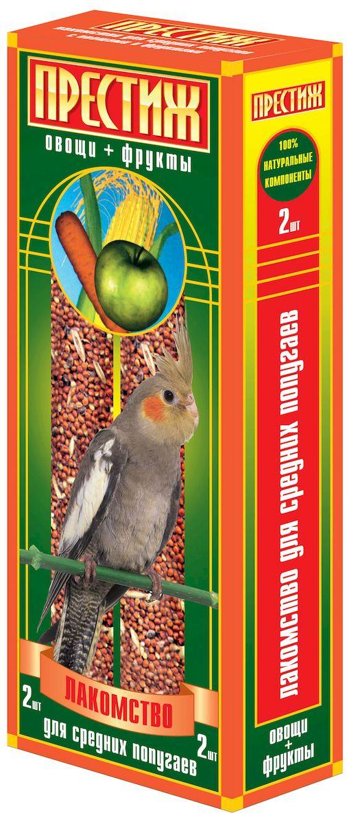 Лакомство для средних попугаев Престиж палочки с овощами и фруктами, 2 шт4627092860693Лакомство Престиж для Средних попугаев в виде жестких палочек с овощами и фруктами, является отличным и полезным разнообразием корма для Вашего питомца. Обладает достаточной жесткостью, что способствует обязательному стачиванию и очищению клюва попугая, а так же вызывает особый интерес добывание пищи самостоятельно, отщепляя зерна с палочки. Состав: Просо красное, просо белое, просо желтое, овес, льняное семя, кукуруза, семена подсолнечника, канареечное семя, полосатые(турецкие) семена подсолнечника, овощи, фрукты, витамины.