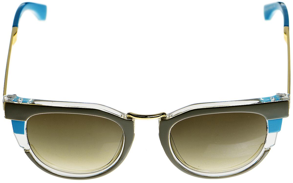 Очки солнцезащитные женские Selena, цвет: бирюзовый, зеленый, коричневый. 8003357180033571Солнцезащитные женские очки Selena выполнены из металла с элементами из высококачественного пластика и оформлены необычным сочетанием цветов. Линзы данных очков с высокоэффективным фильтром UV-400 Protection обеспечивают полную защиту от ультрафиолетовых лучей. Используемый пластик не искажает изображение, не подвержен нагреванию и вредному воздействию солнечных лучей. Такие очки защитят глаза от ультрафиолетовых лучей, подчеркнут вашу индивидуальность и сделают ваш образ завершенным.