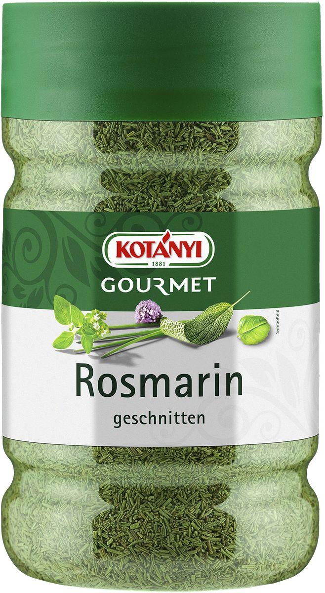 Kotanyi Розмарин нарезанный, 395 г246901Розмарин обладает сильным ароматом и пряным, слегка горьковатым вкусом. Эфирные масла, содержащиеся в розмарине, придают блюдам неповторимый средиземноморский вкус.