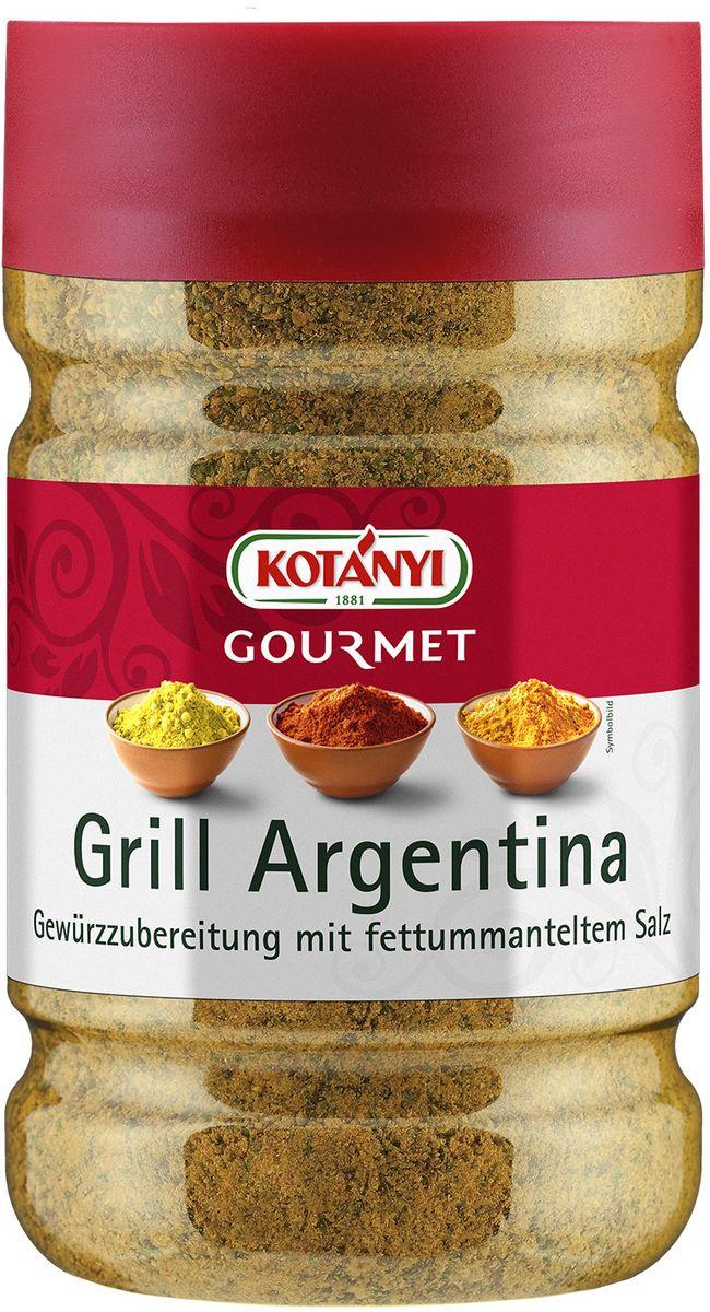 Kotanyi Гриль Аргентина F, 840 г258501Приправа для гриля придает блюдам пикантный вкус. Может содержать следы глютеносодержащих злаков, яиц, сои, сельдерея, кунжута, орехов, молока (лактозы). Пищевая ценность в 100 г: энергетическая ценность: 1154 кДж/277 кКал, белки 5,9 г, углеводы 28 г, жиры 14 г. Хранить плотно закрытым в сухом месте.
