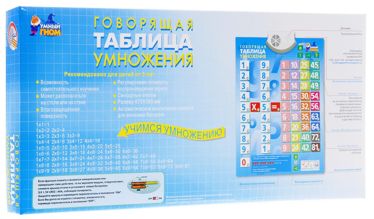 Умный гном Обучающий плакат Таблица умноженияР40575Обучающий плакат Умный гном Таблица умножения - это репетитор по математике, который готов заниматься с вашим ребенком бесконечно! Говорящая таблица умножения сама расскажет ребенку, как ею пользоваться: как включить и выключить, как попросить ее решить пример, какую кнопку нужно нажать для сдачи экзамена. Материал на электронном плакате представлен с учетом удобства восприятия. В левой части плаката - два числа от 1 до 9, в правой - таблица результатов умножения. Числа каждого десятка выделены в таблице результатов своим цветом, что существенно поможет запоминанию и усвоению материала. Также имеются кнопки х (умножить) и = (равно). Принцип работы такой же, как у калькулятора. Говорящая таблица умножения озвучивает производимое действие и оглашает его результат. Если малыш захочет передохнуть и отвлечься - нажимаем на кнопку Веселая песенка, и тогда говорящая таблица умножения споет для него. Когда ребенок будет готов проверить свои знания - нужна кнопка...