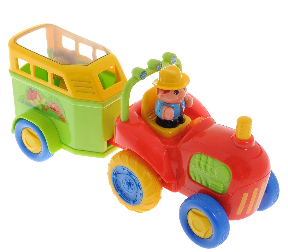 Kiddieland Развивающая игрушка Трактор с лошадкойKID 038224Яркая развивающая игрушка Kiddieland Трактор с лошадкой обязательно порадует малыша приятными мелодиями и забавными звуками. Трактор самостоятельно едет вперед с настоящим звуком двигателя и автоматической остановкой! Нажмите на маленького водителя, чтобы услышать веселую музыку или нажмите на руль для гудка. Нажав на трубу трактора, можно услышать шум мотора. В прицепе детишки найдут лошадку, издающую громкие звуки, когда ее возвращаешь на место. Ноги у лошадки подвижные. Игрушка способствует развитию мелкой моторики, слухового и зрительного восприятия. Рекомендуемый возраст: от 18 месяцев. Питание: 3 батарейки типа AА (комплектуется демонстрационными).