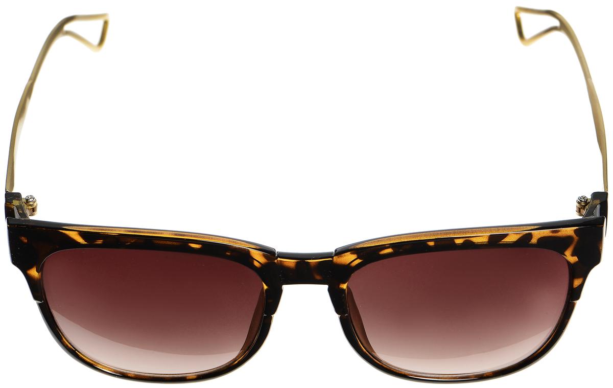 Очки солнцезащитные женские Selena, цвет: темно-коричневый, золотистый. 8003335180033351Солнцезащитные женские очки Selena выполнены из металла с элементами из высококачественного пластика. Дужки по краям дополнены небольшими вырезами, а оправа оформлена оригинальным принтом. Линзы данных очков с высокоэффективным фильтром UV-400 Protection обеспечивают полную защиту от ультрафиолетовых лучей. Используемый пластик не искажает изображение, не подвержен нагреванию и вредному воздействию солнечных лучей. Такие очки защитят глаза от ультрафиолетовых лучей, подчеркнут вашу индивидуальность и сделают ваш образ завершенным.