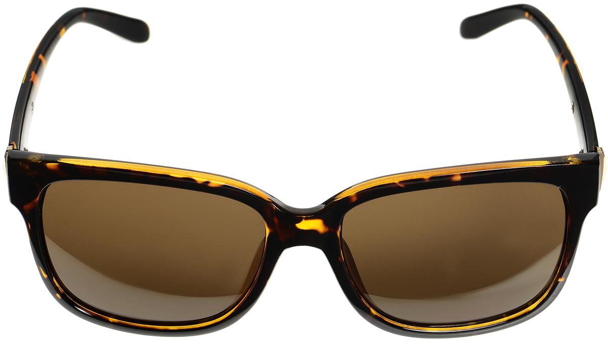 Очки солнцезащитные женские Selena, цвет: коричневый, золотистый. 8003332180033321Солнцезащитные женские очки Selena выполнены из высококачественного пластика со вставками из металла и оформлены оригинальным орнаментом. Линзы данных очков с высокоэффективным фильтром UV-400 Protection обеспечивают полную защиту от ультрафиолетовых лучей. Используемый пластик не искажает изображение, не подвержен нагреванию и вредному воздействию солнечных лучей. Такие очки защитят глаза от ультрафиолетовых лучей, подчеркнут вашу индивидуальность и сделают ваш образ завершенным.
