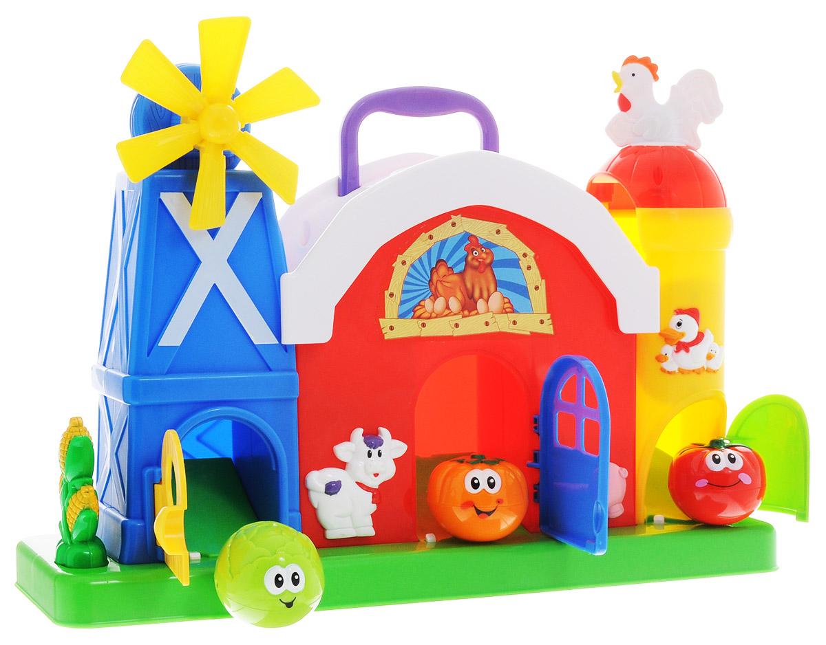 Kiddieland Развивающая игрушка Ферма с мельницейKID 051672Яркая развивающая игрушка Kiddieland Ферма с мельницей обязательно порадует малыша приятными мелодиями и забавными звуками. В комплекте с фермой имеются шарики - овощи в виде капусты, помидора и тыковки. Малыш, бросая шарики в отверстие в крыше фермы наблюдает за ними под забавные звуки. При нажатии на кукурузу открывается дверь в левой башне, нажимая на коровку, открывается дверь в центре, нажимая на хрюшку, открывается дверь в правой башне и мячики выкатываются из фермы. При попадании мячика в левую башню крутится мельница. Игрушка оборудована специальной ручкой в крыше фермы для удобного перемещения. Игрушка способствует развитию мелкой моторики, слухового и зрительного восприятия. Рекомендуемый возраст: от 12 месяцев. Питание: 2 батарейки типа AА (комплектуется демонстрационными).