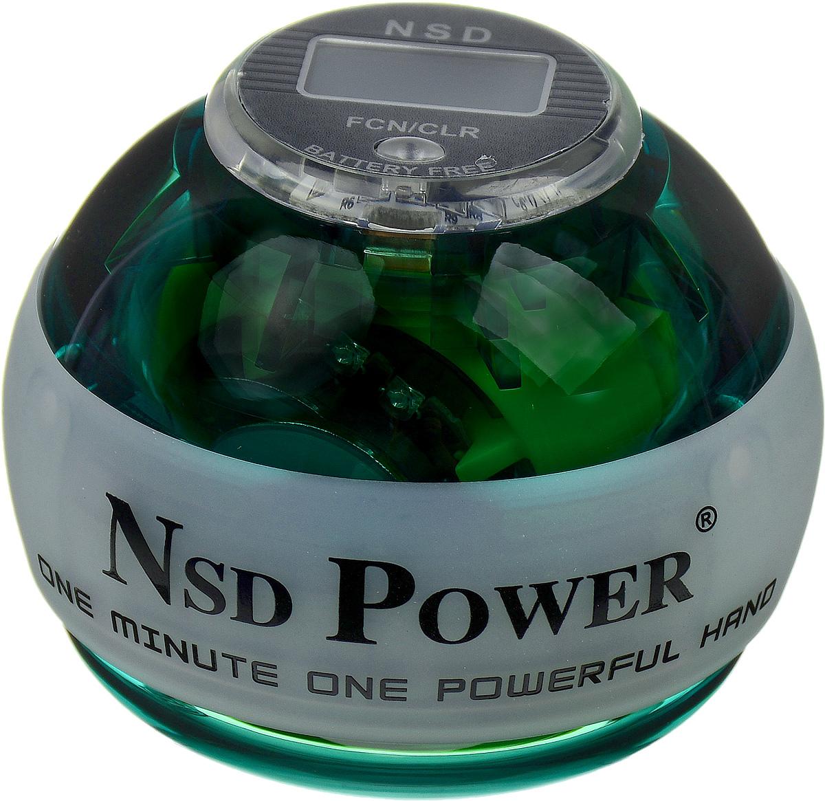 Тренажер кистевой NSD Power Powerball Neon Pro, цвет: зеленыйPB-688LC GreenКистевой тренажер NSD Power Powerball Neon Pro - новая модель c счетчиком и подсветкой. Тренажер изготовлен из более прочного материала с системой защиты ротора, предотвращающей его повреждение при падении шара на твердую поверхность. Он будет служить вам очень долгое время. Также в эту модель внедрена система сменных колец для быстрого ремонта при повреждении. Новый счетчик со встроенным генератором работает без батареек. Прекрасно отрегулированный ротор тренажера с отличным балансом может достигать скорости вращения до 15000 оборотов в минуту. В комплект входят инструкция по использованию и два шнурка для раскрутки. Стильный тренажер для кисти рук, который можно использовать в любую свободную минуту. Упражнения, проделываемые регулярно, обеспечат отличную тренировку рук, разработку кисти после травмы у спортсменов и не только. Размер тренажера: 7 х 8 см.