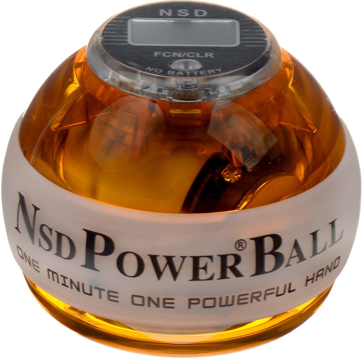 Тренажер кистевой NSD Power Powerball Neon Pro, цвет: оранжевыйPB-688LC AmberКистевой тренажер NSD Power Powerball Neon Pro - новая модель c счетчиком и подсветкой. Тренажер изготовлен из более прочного материала с системой защиты ротора, предотвращающей его повреждение при падении шара на твердую поверхность. Он будет служить вам очень долгое время. Также в эту модель внедрена система сменных колец для быстрого ремонта при повреждении. Новый счетчик со встроенным генератором работает без батареек. Прекрасно отрегулированный ротор тренажера с отличным балансом может достигать скорости вращения до 15000 оборотов в минуту. В комплект входят инструкция по использованию и два шнурка для раскрутки. Стильный тренажер для кисти рук, который можно использовать в любую свободную минуту. Упражнения, проделываемые регулярно, обеспечат отличную тренировку рук, разработку кисти после травмы у спортсменов и не только. Размер тренажера: 7 х 8 см.