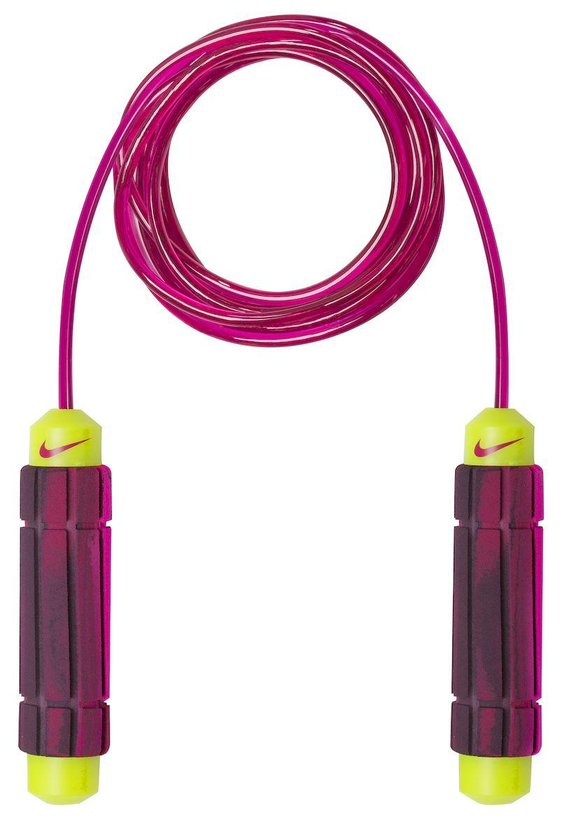 Прыгалки Nike, цвет: розовый, пурпурный, бордовый, салатовыйN.ER.10.695.NSСкакалка для фитнеса и занятий в зале. Покрытый полиуретаном трос скакалки обеспечивает легкое оборачивание, не прилагая особых усилий. Мягкие брендированные ручки с регулятором длины. Легко раскручивается, исключая запутывание троса.