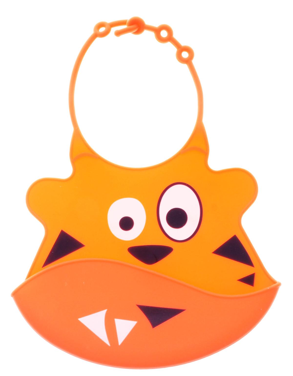 BabyOno Нагрудник цвет оранжевый1343_оранжевыйГибкий нагрудник BabyOno с регулируемой застежкой защитит одежду малыша во время кормления и избавит родителей от дополнительных хлопот. Изготовлен из безопасных материалов, обеспечивающих длительное использование. Имеет удобный отворот, куда будет падать еда, которую малыш выплюнет или случайно уронит. Оформлен нагрудник смешной мордочкой. Перед первым использованием изделие следует тщательно вымыть и высушить. Не содержит бисфенол А, фталатов, свинца.