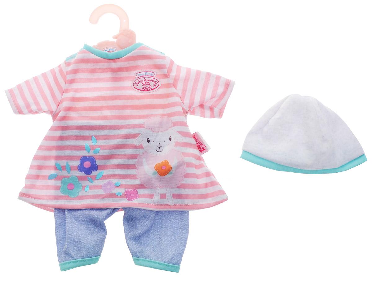 Baby Annabell Одежда для кукол Платье со штанишками цвет розовый светло-серый 794-371_джинсовые штаны