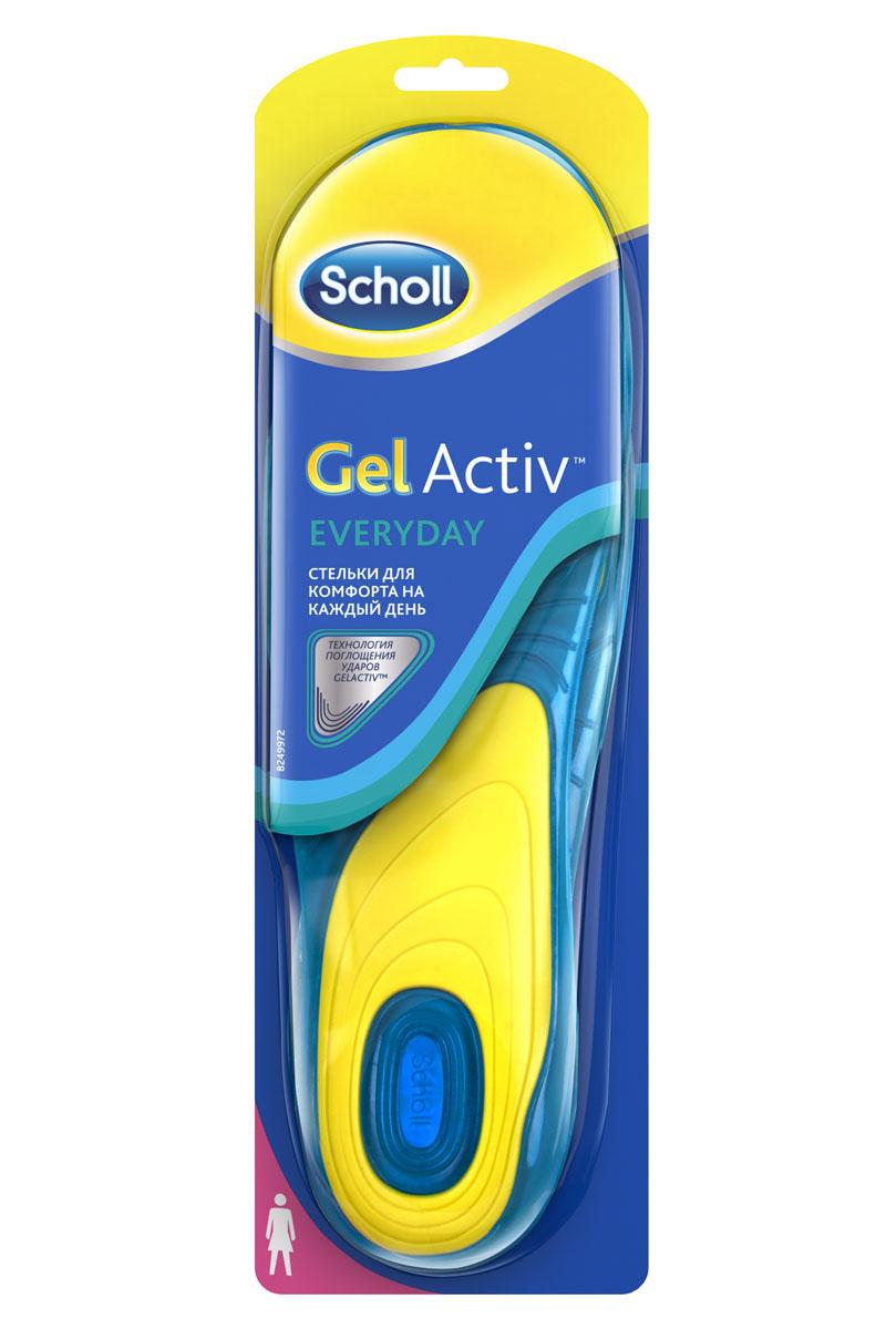 Scholl GelActiv Everyday Cтельки для комфорта на каждый день для женщин. Размер 37/415997Удваивает комфорт вашей обуви. Амортизирует удары на протяжении всего дня. Характеристики стельки: мягкий голубой гель для амортизации; более жесткий желтый гель для поддержки свода стопы; стельки смягчают удар ноги при каждом шаге, обеспечивая необходимую поддержку стопы, давая вам энергию, с которой хочется двигаться больше. Превосходная амортизация, уникальная форма, разработанная специально под каждую активность поддержат вас, что бы вы ни делали – работали, занимались спортом или танцевали всю ночь! Обрежьте под свой размер, поместите вместо обычной стельки гелевой стороной вниз. Меняйте стельку каждые 6 месяцев или при первых признаках износа. Можно стирать. 100% термопластичный эластомер. Вес - 200 г.