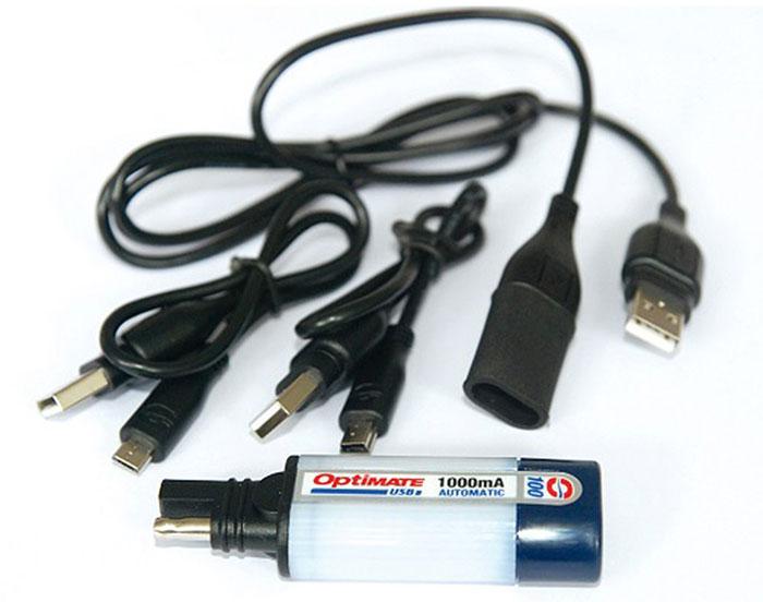 Универсальное зарядное устройство OptiMate. O100O100Зарядное устройство для мобильных телефонов, камер и другой техники напрямую от аккумуляторной батареи. Ток заряда 1000мА, напряжение 5В. В комплект входят кабели Mini USB, Micro USB, удлинитель USB. Подключение к АКБ осуществляется с помощью аксессуаров Optimate O1, O2, O4, O5.