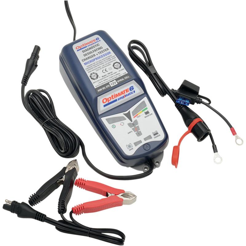 Зарядное устройство OptiMate 6. TM180SAETM180SAEМногоступенчатое зарядное устройство Optimate от бельгийской компании TecMate с режимами тестирования, восстановления глубокоразряженных аккумуляторных батарей, десульфатации и хранения. Управление полностью автоматическое без кнопок. Заряжает все типы 12В свинцово-кислотных аккумуляторных батарей, в т.ч. AGM, GEL. Защита от короткого замыкания, переполюсовки, искрообразования, перегрева. Оптимизирует срок службы и здоровье аккумуляторной батареи. Влагозащищенный корпус. Рекомендовано 10-ю ведущими производителями мототехники. Optimate 6 рекомендуется для АКБ до 240 Ач. Ток заряда 0,4 - 5,0А. Старт зарядки АКБ от 0,5В. Температурный режим -40...+40С. В комплект устройства входят аксессуары O11 кольцевой разъем постоянного подключения и O4 зажимы типа крокодил.